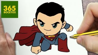 COMO DIBUJAR SUPERMAN KAWAII PASO A PASO , Dibujos kawaii faciles , How to draw a