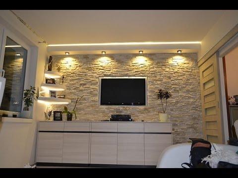 Ściana TV w kamieniu ozdobnym dekoracyjnym TV Wand in the stone wall decorative ornamental