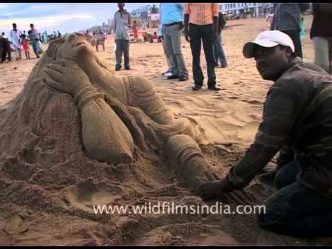 Sculpting out of sand in Puri Beach, Odisha