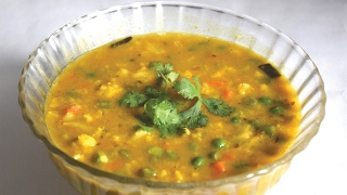 Bengali Style Mixed Vegetable Dal Recipe - Sabji Diye Mung Dal - Bengali Veg Recipe Sabzi Dal
