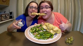Chicken Breast Skewers, Bacon Asparagus And Bacon Brussel Sprouts | Gay Family Mukbang (먹방)