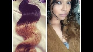 Yvonne Hair - Ombre Peruvian Body Wave Extensions Initial and Install review- Aliexpress