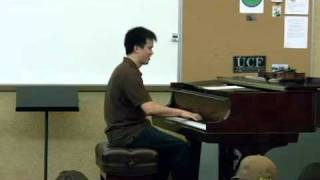 Victor Lin improvises the F Blues on violin and piano