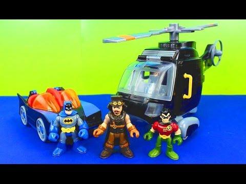 Imaginext Magician Tries to take Batman Robin cape Batcopter Batmobile Batcave toys stories