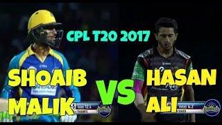 Hasan Ali vs Shoaib Malik Battle In CPL T20 - Two Pakistanis Battle In Caribbean T20