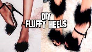 DIY: FLUFFY HEELS   Faux Fur Feather Heels