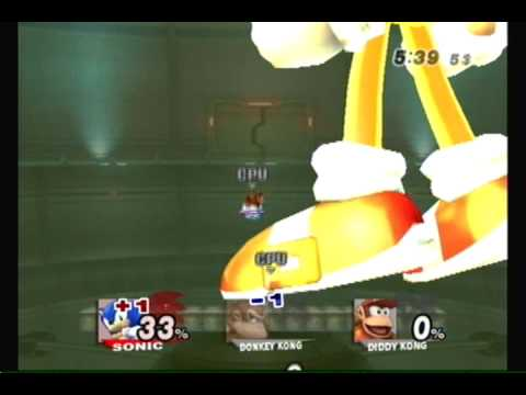 Brawl Hacks Giant Growing Sonic v.s. Donkey Kong and Diddy Kong