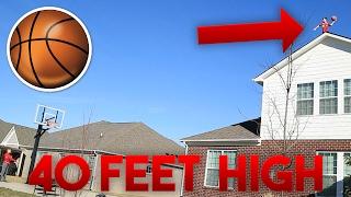CRAZY ROOFTOP TRICKSHOTS!! INSANE BASKETBALL TRICKSHOTS OFF THE ROOF! 40 FOOT HIGH BASKETBALL SHOT!!