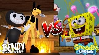 Minecraft Versus - BENDY AND THE INK MACHINE WITH BORIS BATTLES SPONGEBOB - Custom modded mini game
