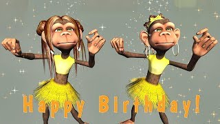 Funny Happy Birthday Song. Monkeys sing Happy Birthday