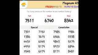 Today 4D Result 15.09.2018 toto, Magnum, Kuda, Singapore 4d live result