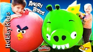 4 MEGA GIANT EGGS! Angry Birds + Bad Piggies Surprise Trashies Toy and Play-Doh Eggs HobbyKidsTV