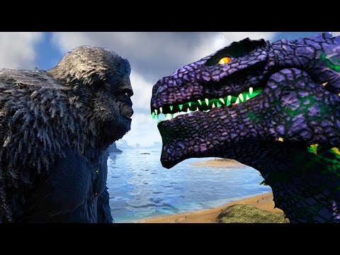 Ark Survival Evolved - GODZILLA &  ACTUAL KING KONG FINALLY GET TO BATTLE! - (Ark Modded Gameplay)