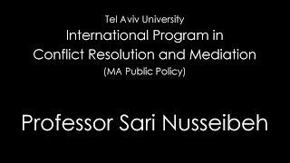 Palestinian Sari Nusseibeh on Palestinian peace
