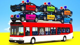 LEARN COLORS w Police Cars on Bus & Spiderman Cartoon for kids - Superheroes for Children!