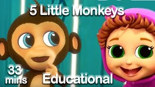 5 Little Monkeys Jumping on the Bed Nursery Rhyme (Learn Counting & Safety)    Baby Songs