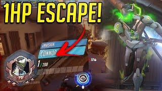 PRO GENJI OUTPLAYS ENEMIES WITH 1 HP! - OVERWATCH WTF FUNNY MOMENTS MONTAGE