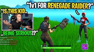 This little kid CHALLENGED me to 1v1 for my RENEGADE RAIDER... (emotional)