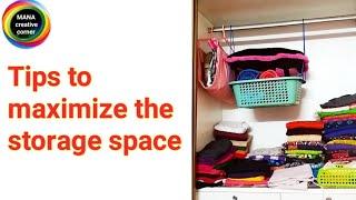 Tips to maximize the storage space#wardrobe organisation ideas#women closet organisation