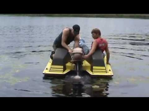 paddle boat with an old outboard installed