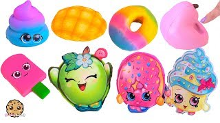 Cutest Food Squishies Squishy Haul + Shopkins Blind Bag Surprise - Toy Video