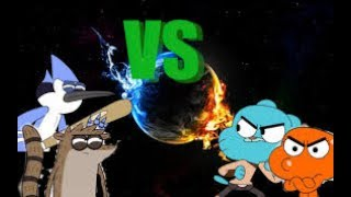 Gumball e Darwin vs Mordecai e Rugby batalha de rap