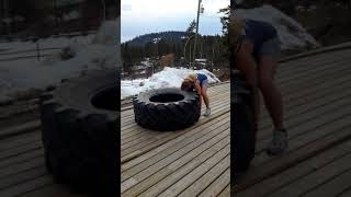 Tire flip ropes HIIT workout