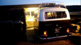 vw bus drops air ride to fit in the garage. Scotland