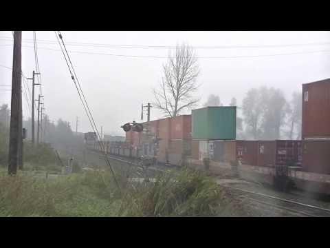 BNSF XXXX contaiuner train shot on a foggy morning in Sumner, Washington