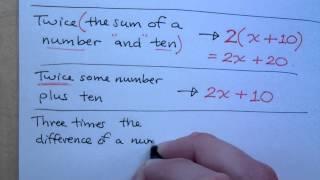 Prealgebra - Part 48 (Translate to Algebraic Expressions)