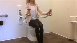 Maniglione ribaltabile con portarotolo per sollevarsi da WC - regolabile in altezza