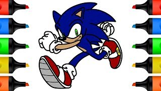 How to Draw Sonic Learn Colors for Kid Coloring Pages for Children