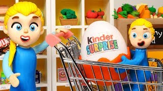 Diana buys a surprise kinder egg in the supermarket 💗 Cartoons For Kids