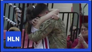 Military brother surprises sister at her last game!