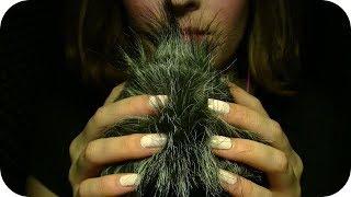 {ASMR} ☾✴ Fluffy Windguard Touching & Squishing ••• Close Up Whisper Ramble ••• Hand Movements ✴☽