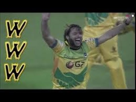 Shahid Afridi Hat-trick in T10 Cricket League 2017 | Sehwag vs Afridi