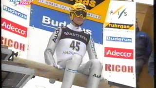 Małysz vs Jussilainen i Hannawald ,Harrachov 14 stycznia 2001, I seria-David Goldstrom