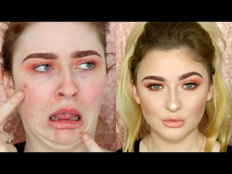GRWM PEACH MONOCHROMATIC SPRING MAKEUP AND COVERING SPOTS LOL