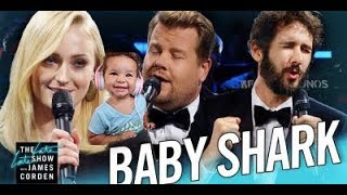 The Biggest 'Baby Shark' Ever Baby Reaction| James Corden, Sophie Turner, & Josh Groban