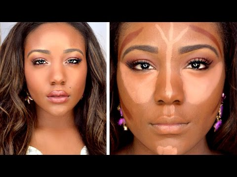 HOW TO: DRUGSTORE Contour,Highlight,+ Foundation for Black Women Makeup Tutorial 2015 ( DARK SKIN )