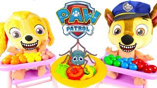 Skye in Paw Patrol Kitchen Playset Making Colorful Salad for Chase with Icky Slime Surprise Pt 1