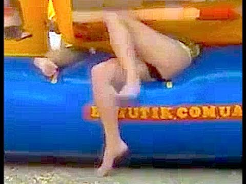 FUNNY! Mature SEXY fail! Women remain trapped in the bouncy castle!