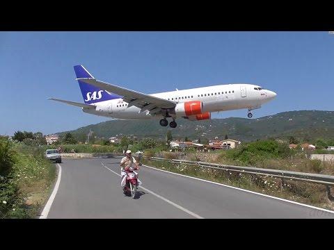 Low Landings. Danger from aircraft blast. Skiathos Greece.