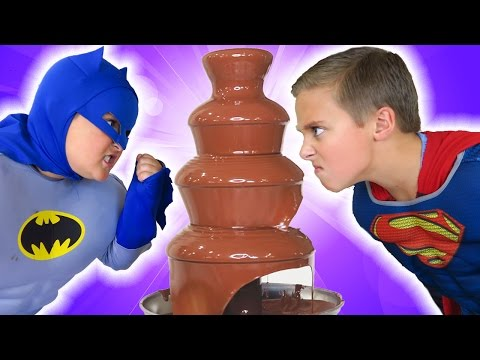 GIANT CHOCOLATE FOUNTAIN Battle! Egg Hunt! + Candy + Surprise Funny