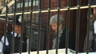 Theresa May leaves Finsbury Park Mosque in London