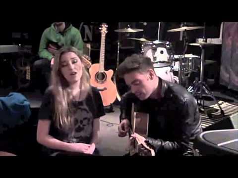 Leddra Chapman and Ben Montague singing 'Broken' after gig...