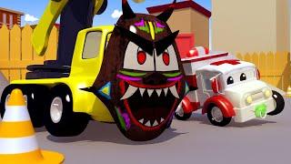 Baby Charlie the CRANE FELL Into a Pothole ! Amber the Ambulance Saves Car City - Cars 3D Cartoon