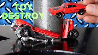 DODGE CHARGER Hotwheels Car gets CRUSHED by Hydraulic Press | Crushing CARS! | Toy Destroy