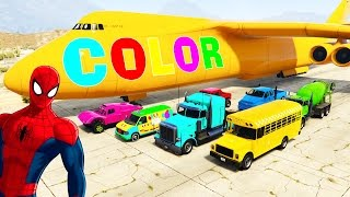 COLOR CARS & Trucks in Spiderman Cartoon with Colors for Kids Cargo Plane w Children Nursery Rhymes