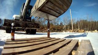 Beer Bottle Excavator Trick - Bonus Footage